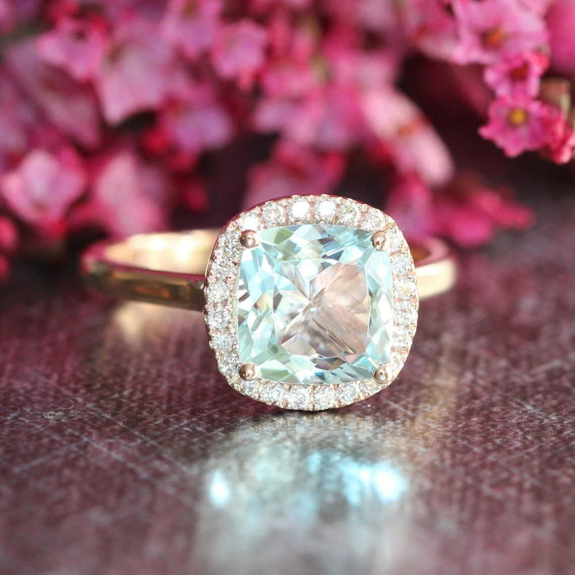 natural aquamarine engagement ring in 14k rose gold 8x8mm. Black Bedroom Furniture Sets. Home Design Ideas