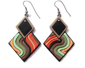 Square Earrings, Green Earrings, Orange Earrings, Big Earrings, Geometric Earrings, Geometric Jewelry, Statement Earrings, Modern Earrings