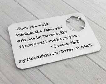 Firefighter Wallet Insert - Personalized Wallet Insert - Custom Wallet Card - Hand Stamped Love Note - Gift for firefighter