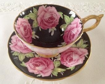 Aynsley Athens Black Cabbage Rose China Tea Cup & Saucer