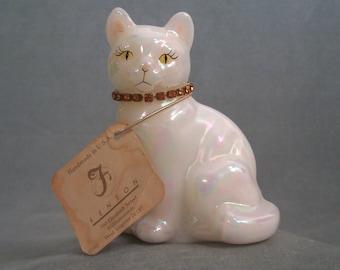 Vintage Fenton Cat November 1992 Topaz Opalescent      S739