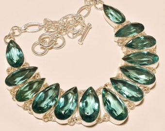 lab-created, GORGEOUS huge Apatite  bib necklace, silverplated