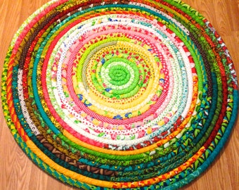 "Handcrafted Fabric Coiled Rug 42"" Round Moda Fabrics"