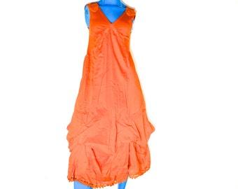 Vintage 90s Sleeveless Orange Dress, Long Crunchy Dress, Zashi New Old Stock