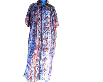 FREE SHIPPING Vintage Dress Boxy Tribal Cocoon Loose Gown