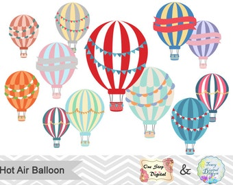Instant Download Hot Air Balloon Clipart, Hot Air Balloon Digital Clip Art, Hot Air Balloon Red, Blue, Pink, Orange, Purple, Yellow, 00201