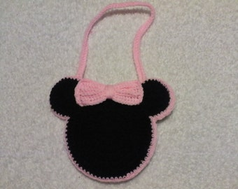 Minnie Mouse Inspired Crochet Purse with/without Initial