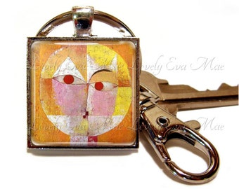 Senecio Keyring, Paul Klee Keychain with Clip, Key Fob with Clasp, Orange and Yellow Keychain, Key Chain, Artwork, Famous Painting, Charm