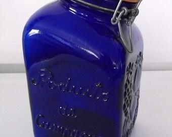 Vintage Cobalt Blue Jar, Made in Italy