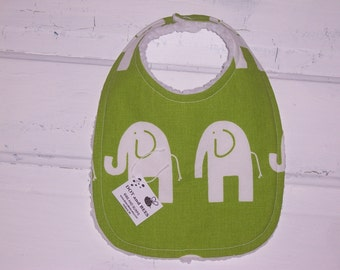Lime Green Elephant Baby Bib !!  FREE SHIPPING !!!!!!