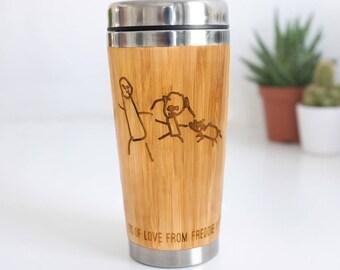 Travel Mug, Hand Drawn Gift, Personalised Mug, Grandparent Gift, Custom Coffee Mug, Personalized Child Drawing Travel Mug