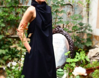 Black Extravagant Day Dress / Maxi Asymmetric Long Dress / Oversize Caftan Dress