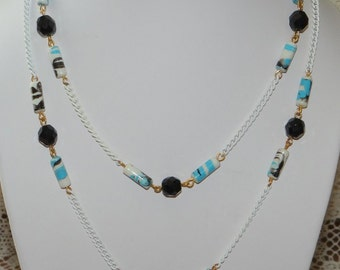 Vintage White Enamel Chain Necklace Blue Striped Beads and Black Faceted Crystal Beads
