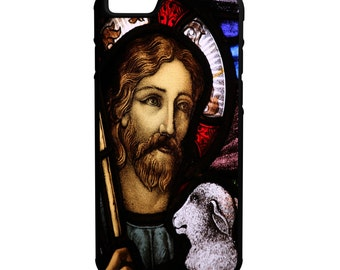 Jesus Christ Stained Glass Window  iPhone Galaxy Note HTC LG Protective Hybrid Rubber Hard Plastic Snap On Case