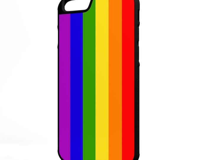 LGBT Flag iPhone Galaxy Note HTC LG Protective Hybrid Rubber Hard Plastic Snap on Case Black Marriage Equality