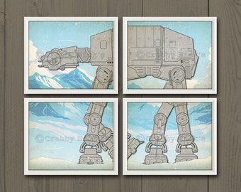 "8x10 (4) Star Wars Prints - Nursery Art, Star Wars Art, Star Wars Prints - The Empire Strikes Back - AT-AT Walker ""Battle of Hoth"""