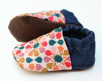 Denim Moccasin, Navy Soft Soled Infant Shoe, Leather Moccasin, Soft Sole Toddler Shoe, Multicolor Cloth Baby Shoe, Leather Sole, Denim Shoe
