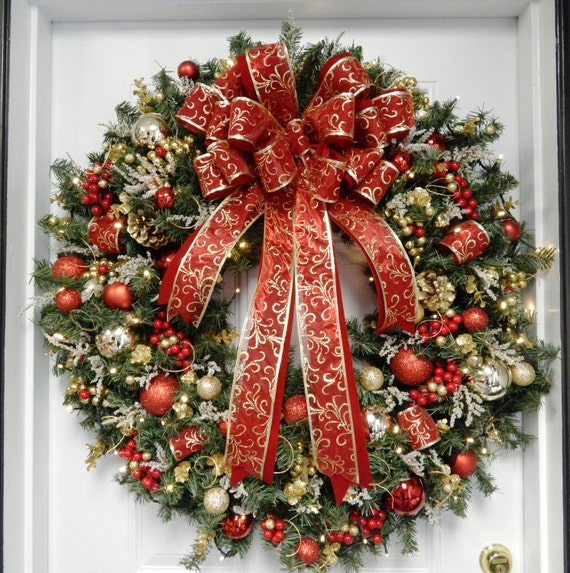 Christmas Wreath Lighted XL Wreath Lighted By TylerInteriors