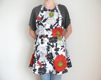White Cotton Apron, Adjustable Red Floral Apron, Womens Aprons, Kitchen Apron, Retro Apron, Full Apron, Aprons for women, Retro Apron