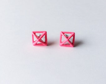 CLEARANCE - Neon Pink Pyramid Stud Earrings - Pink earrings - Pyramid studs - Minimalist earrings - Post earrings - Stud earrings