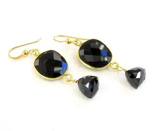 Onyx Bezel Earrings, Black with Dangles, Black Spinel