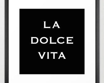 Typography Print - Canvas Art - La Dolce Vita - Typography Art - Wall Decor - Large Wall Art - Teen Room Decor - Girls Room - Italian Decor