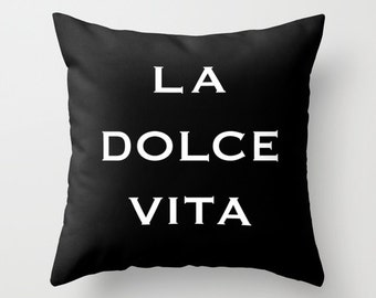 Black Velvet La Dolce Vita Pillow, Italian Decor, Italy Pillow, Black and White Velvet Cushion Cover, Housewarming Gifts, Gift for Her