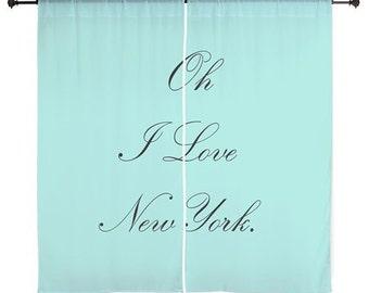 Chiffon Curtains - Breakfast at Tiffanys - Teen Curtains - Girls Curtains - Girls Decor - Bedroom Curtains - Breakfast at Tiffanys Decor