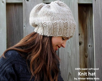 Knit beanie hat, Knitted hat in 100% soft wool, winter knitted hat, handknit slouch hat, slouchy tam hat, soft and cozy