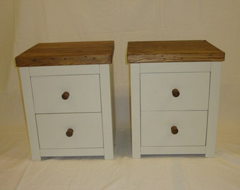 Chunky rustic pair of bedside cabinets painted