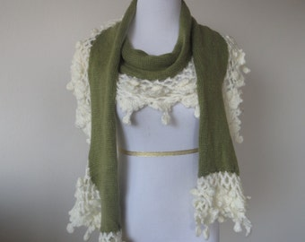 Hand Knitted Crochet Ruffles & Mohair Scarf Green Color