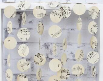 Sheet Music Paper Garland - Music Wedding Decor - Romantic Wedding - Music Garland
