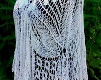Hand knitted Whit Poncho.