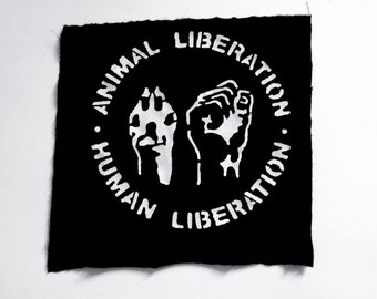Animal Liberation Back Patch , Vegan Patch , Handmade , Silk Screen Patch , Animal Liberation  , Punk , Screen Printing Patch , Crust