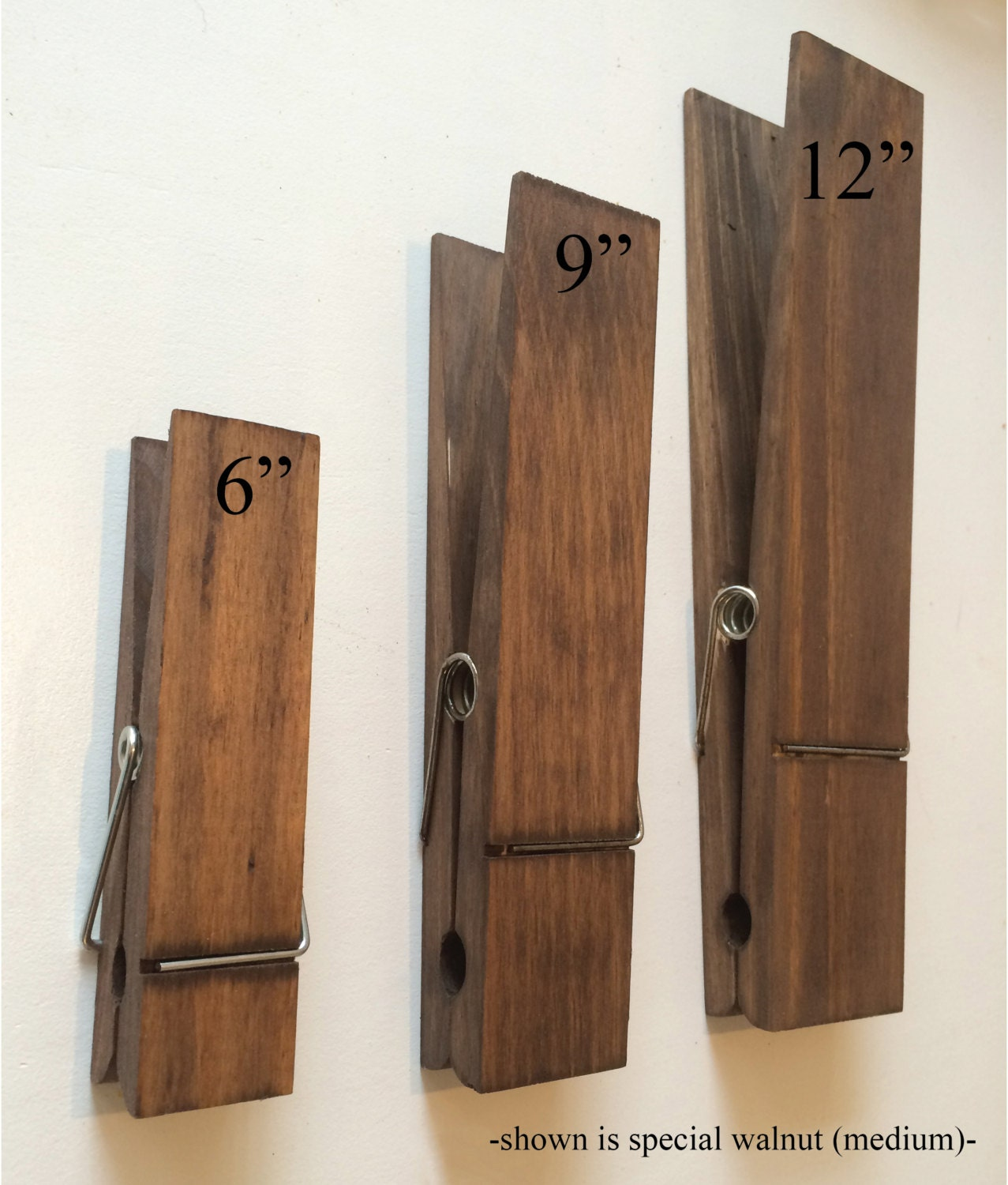 Large 6 Rustic Wooden Clothes Pin Wall Decor