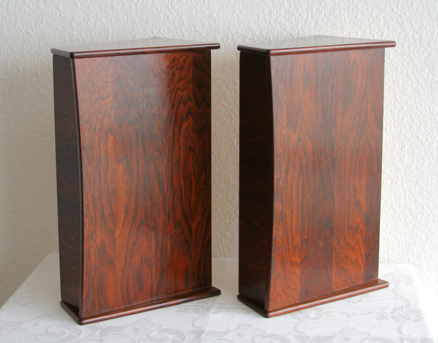 A pair of danish rosewood wall shelves drawers nightstand for Wall shelf nightstand