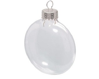 "Set of 12 Clear Glass Ornaments - Flattened Disk (like M&M's) shaped - Fillable, great for crafts! Two Sizes: 2 5/8"" or 3 1/8"""
