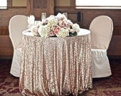 Custom sequin tablecloth in your choice of size and color - rose gold, silver, champagne, bronze etc, round, square or rectangular