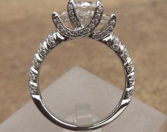 Three Stone Ring, 14K White Gold Ring Round 6MM Semi Mount Ring / Engagement Ring