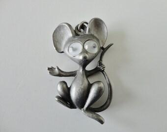 Vintage Mouse Pendant…Googly Eyes Mouse Pendant