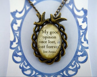 Jane Austen Pride and Prejudice vintage bronze necklace