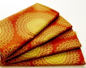 Large Cloth Napkins - Set of 4 - Rust Orange Red Gold Yellow - Thanksgiving Holiday Autumn Decor