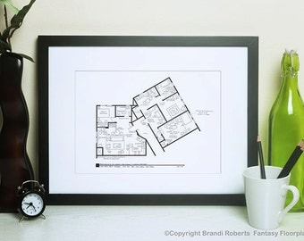 Seinfeld and Kramer Apartment Floor Plan - Famous TV Show Floor Plan - Blackline Poster Art for home of Jerry Seinfeld and Cosmo Kramer