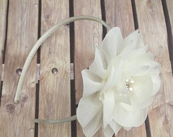 Ivory headband, flower girl headband, flower girl, wedding headband, hard headband, child headband