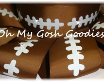 "FOOTBALL GLITTER STITCH Tic Toc Cheer Team grosgrain ribbon - 3"" - 5 Yards - Oh My Gosh Goodies Ribbon"