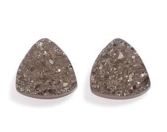 Platinum Drusy Quartz Trillion Cabochon Loose Gemstones Set of 2 1A Quality 5mm TGW 0.90 cts.