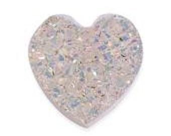 Snow Drusy Heart Cabochon Loose Gemstone 1A Quality 9mm TGW 1.70 cts.