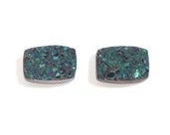 Green Drusy Quartz Cushion Cabochon Loose Gemstones Set of 2  1A Quality 6x4mm TGW 0.95 cts.