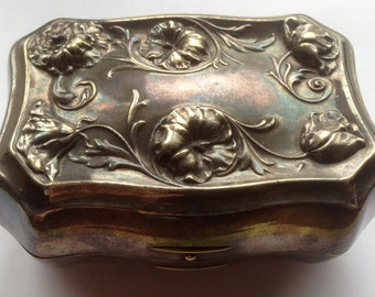 Art Nouveau Morning Glory Embossed Silverplated Jewellery Box or Carrying Case
