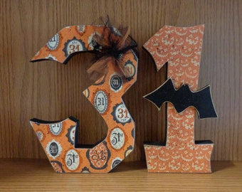 Fall Decor, Halloween Decor, October 31, Chunky number 31 with Bat